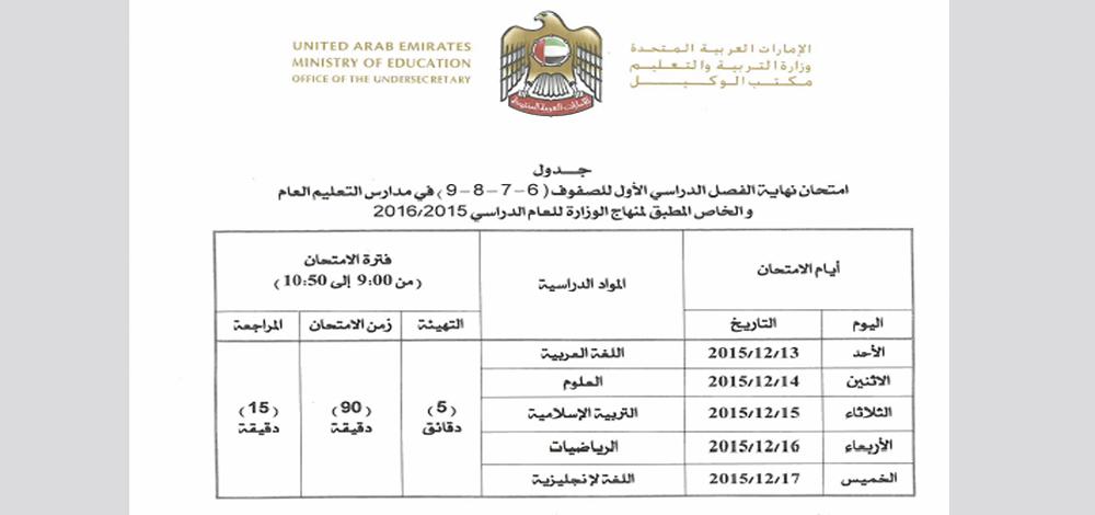 جدول الفصل الاول للصف السادس والسابع والثامن والتاسع
