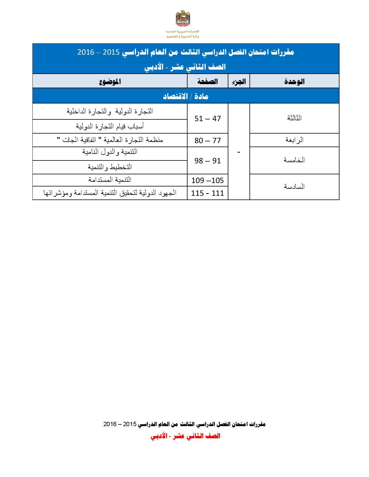 مقررات امتحانات الصف الثانى عشر ادبى للفصل الثالث 2016 (4)