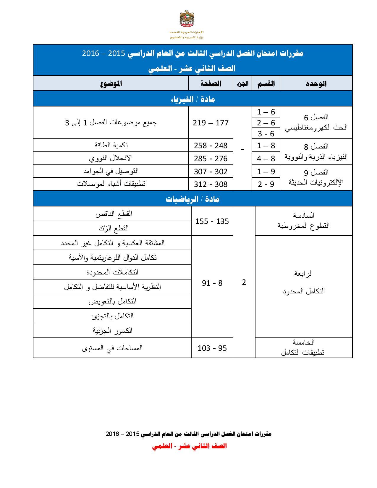 مقررات امتحانات الصف الثانى عشر علمى للفصل الثالث 2016 (2)