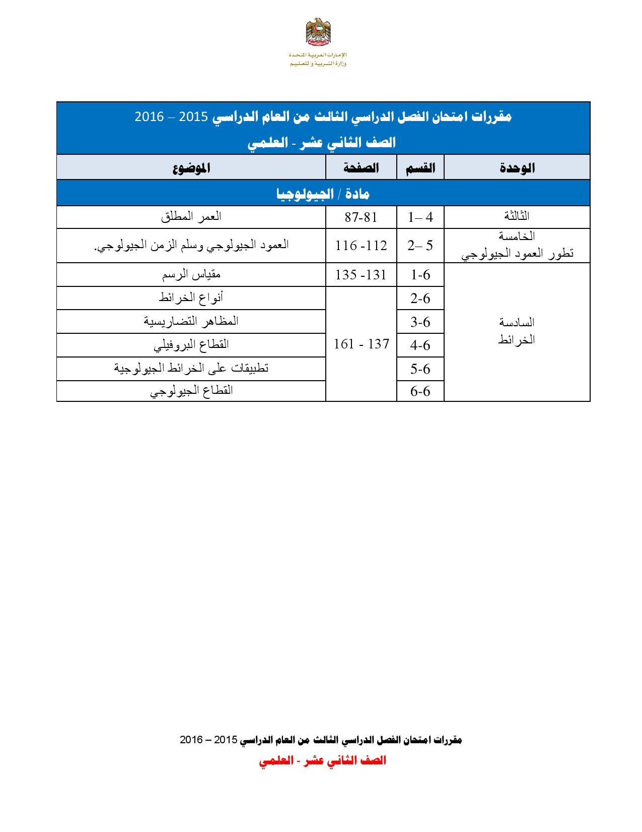 مقررات امتحانات الصف الثانى عشر علمى للفصل الثالث 2016 (4)